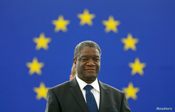 Congolese gynecologist Denis Mukwege attends an award ceremony to receive his 2014 Sakharov Prize at the European Parliament in Strasbourg, Nov. 26, 2014. On Friday Mukwege won the Nobel Peace Prize with Nadia Murad.