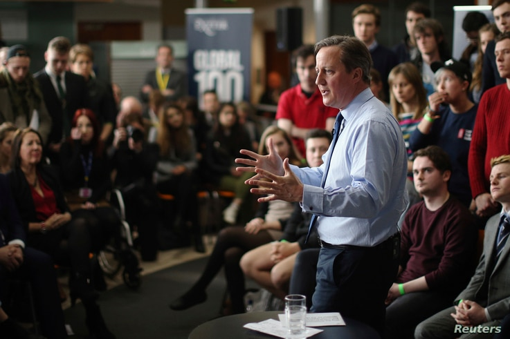 Britain's Prime Minister David Cameron addresses students at Exeter University in Exeter, Britain, April 7, 2016.