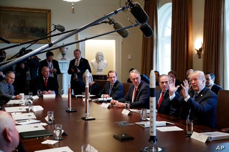President Donald Trump speaks during a cabinet meeting at the White House in Washington, March 8, 2018.