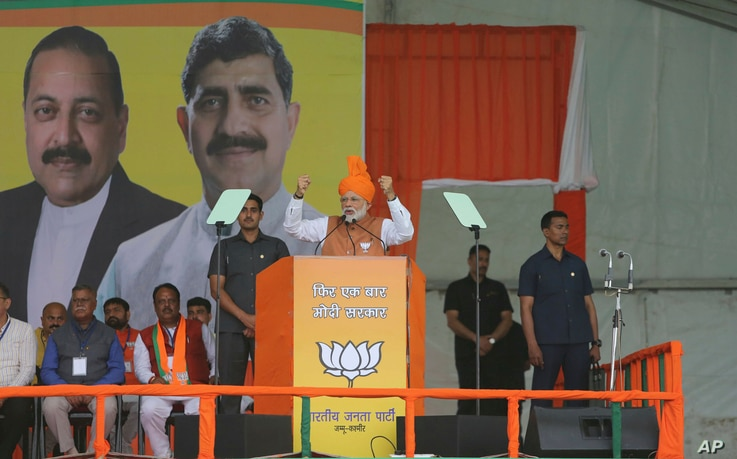 Indian Prime Minister Narendra Modi addresses an election rally at Dumi village in Akhnoor, about 20 kilometers from Jammu, India, March 28, 2019.
