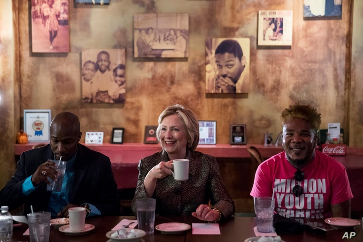Democratic presidential candidate Hillary Clinton meets with African American community leaders at Mert's Heart & Soul in Charlotte, N.C., Oct. 2, 2016.