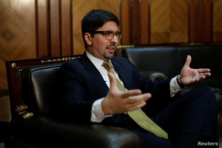 Freddy Guevara, first vice president of the National Assembly and deputy of the opposition party Popular Will (Voluntad Popular), speaks during an interview in Caracas, Venezuela Jan. 17, 2017.