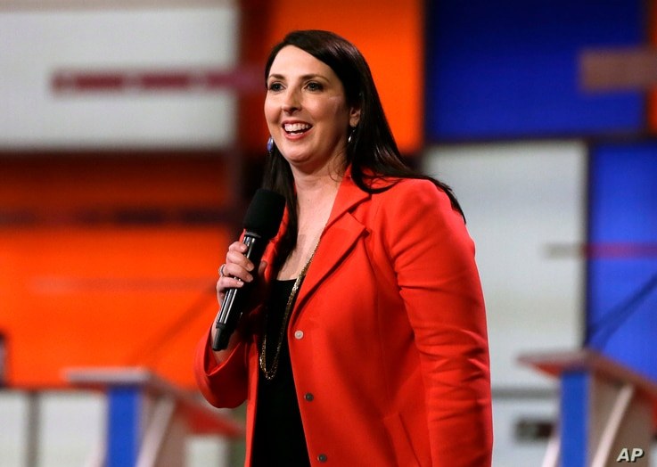 FILE - Ronna Romney McDaniel, the Michigan Republican Party chair, speaks before a Republican presidential primary debate in Detroit.