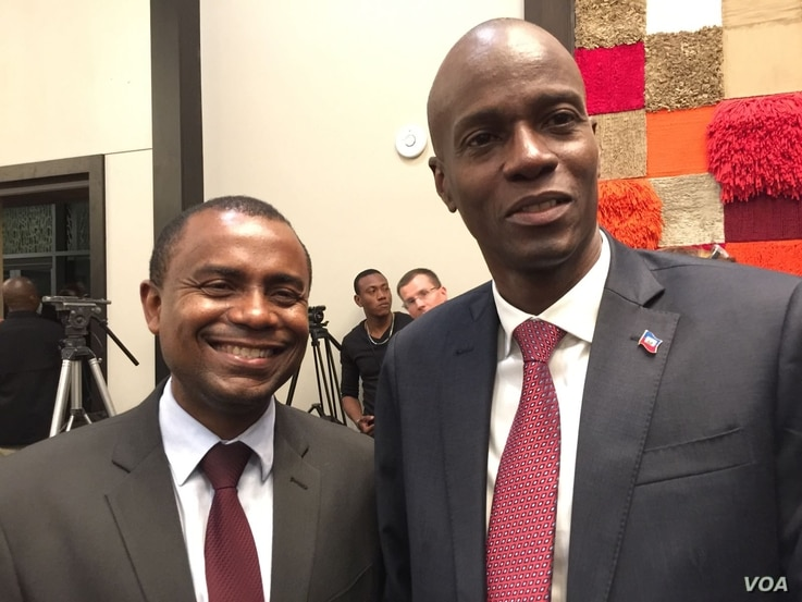 Haitian President-elect Jovenel Moise, right and former Communications Minister Rotchild Francois Jr. in Port-au-Prince, Haiti. (Photo: VOA Creole Service)