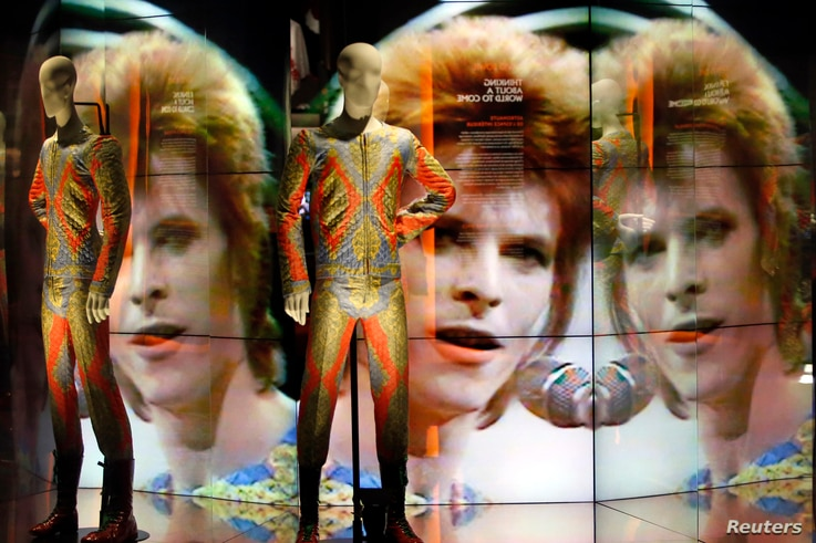 An exhibit on pop star David Bowie, running through May 31, includes two suits designed by Freddie Burretti for his Ziggy Stardust tour.