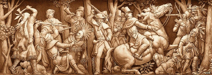 This frieze, which appears in the U.S. Capitol Building in Washington, D.C., depicts the killing of Tecumseh by American forces.  Courtesy, Architect of the Capitol.