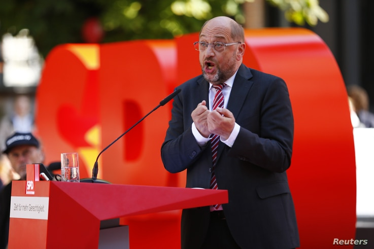 Social Democratic Party candidate Martin Schulz speaks during the final campaign rally in Aachen, Germany, Sept. 23, 2017, ahead of the country's general election.