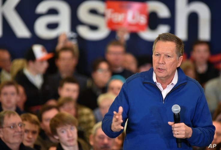 Republican presidential candidate, Ohio Gov. John Kasich speaks at a rally in Traverse City, Mich., March 5, 2016. The Michigan primary election is March 8, 2016.