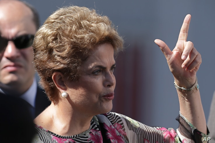 Brazil's President Dilma Rousseff speaks during a visit to ground infrastructure works for Geostationary Satellite Operation Defense and Strategic Communications for the 2016 Olympic Games, in Brasilia, Brazil, March 23, 2016.