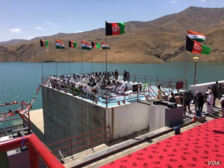 Preparation to inaugurate the Salma Dam, referred to as the Afghanistan India Friendship Dam by both countries, and is built with $300 million of Indian money, June 4, 2016. (Courtsey photo by bjp.org)