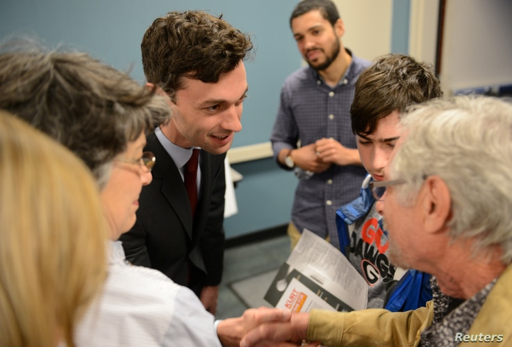 Democratic candidate Jon Ossoff greets supporters in Marietta, Georgia, April 3, 2017.