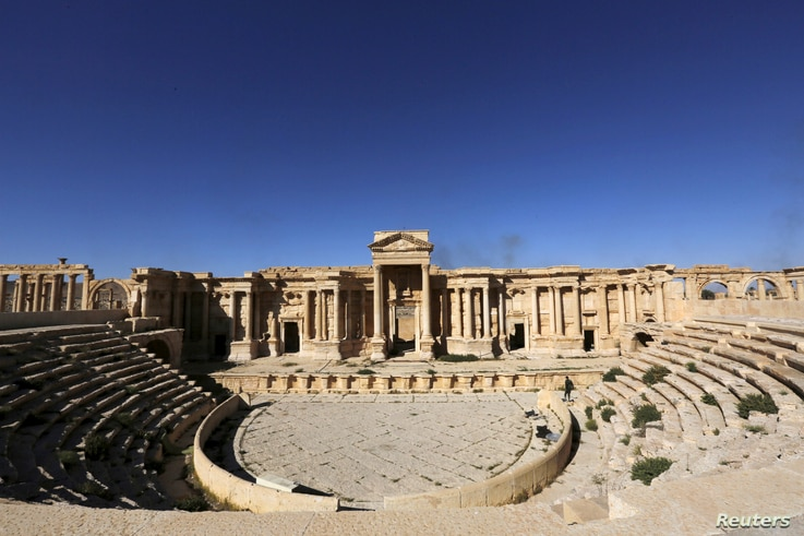 FILE - A view shows the Roman Theatre in the historical city of Palmyra, Syria, April 1, 2016.