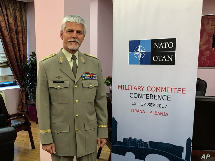 "Gen. Petr Pavel, head of NATO's Military Committee, poses during an interview with the Associated Press, in Tirana, Albania, Sept. 16, 2017. Pavel said the Zapad 2017 military maneuvers being conducted now by Russia and Belarus could be seen as ""a se..."
