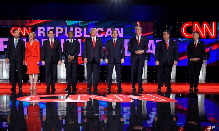 Republican presidential candidates take the stage during the CNN Republican presidential debate at the Venetian Hotel & Casino on Dec. 15, 2015, in Las Vegas.