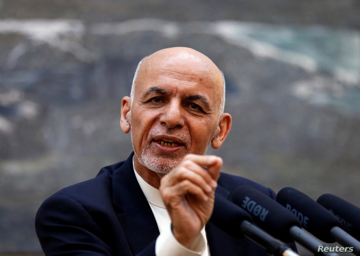Afghan President Ashraf Ghani speaks during a news conference in Kabul, Afghanistan, June 30, 2018.