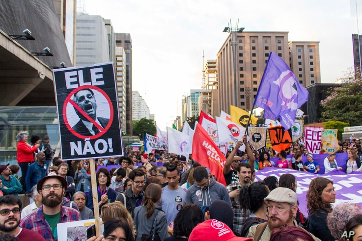 Demonstrations against the candidate of the PSL presidency, Jair Bolsonaro. Several acts were organized on the São Paulo avenue in Sao Paulo, Brazil on Oct. 20, 2018.
