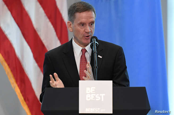 """USAID administrator Mark Green introduces U.S. first lady Melania Trump at a reception on her initiative """"Be Best"""" at the United States mission to the U.N. on the sidelines of the United Nations General Assembly in New York City, Sept. 26, 2018."""