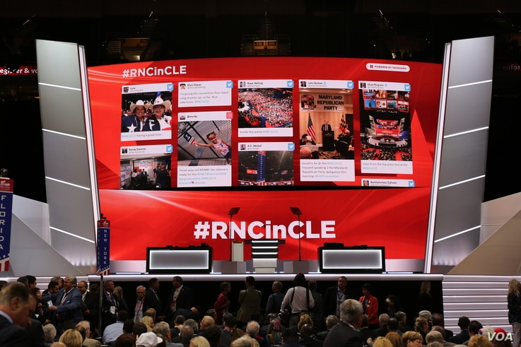 Social media posts are on display at the Republican National Convention, July 18, 2016.