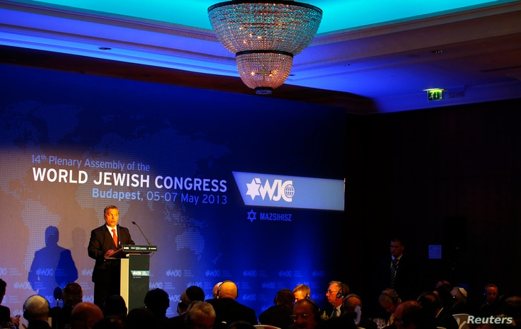 Hungarian Prime Minister Viktor Orban delivers a speech during the 14th Plenary Assembly of the World Jewish Congress in Budapest, May 5, 2013.