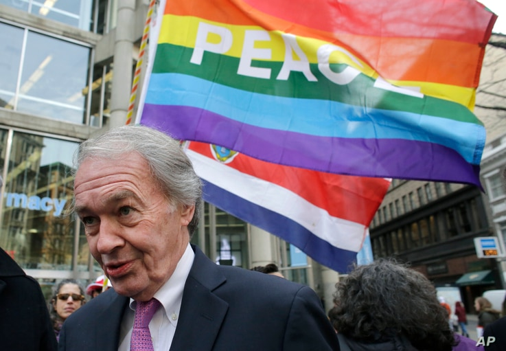 """Sen. Ed Markey, D-Mass., speaks with reporters following a rally called """"We Will Persist,""""  Feb. 21, 2017, in Boston."""