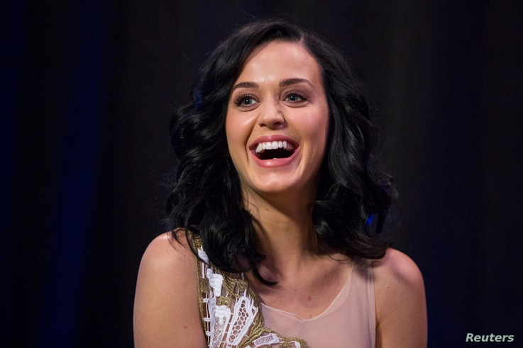 FILE - Singer Katy Perry takes part in a panel discussion.