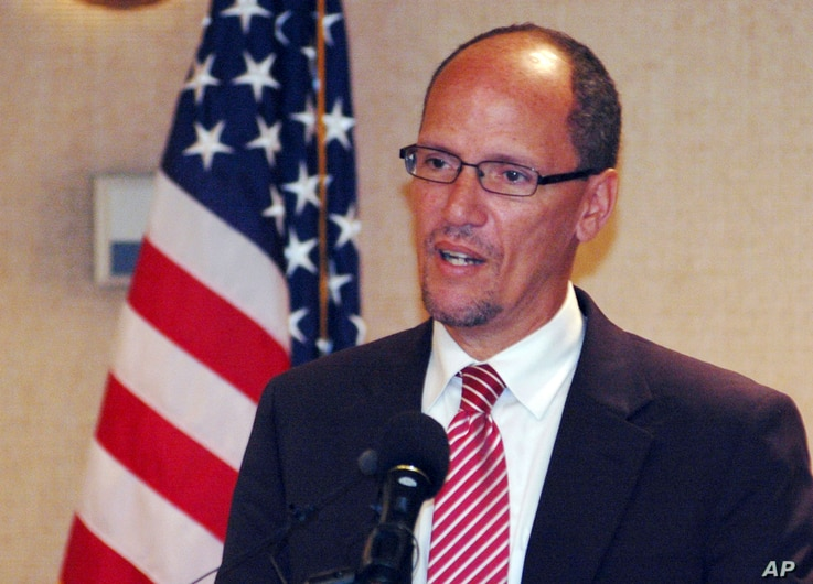 FILE - Former Labor Secretary Tom Perez, Aug. 21, 2012.