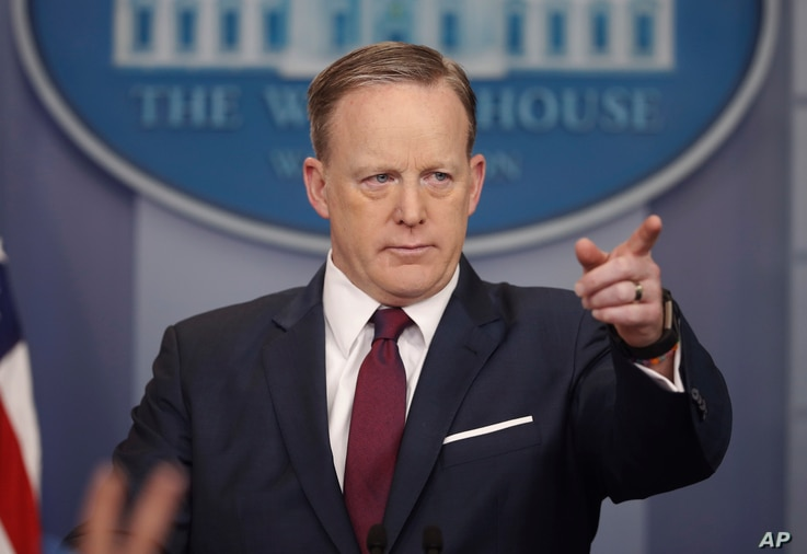 """White House press secretary Sean Spicer speaks to the media during the daily briefing at the White House in Washington, March 24, 2017. Spicer said Monday the new office Jared Kushner is to head is important and noted """"outdated and unmodernized"""" depa..."""