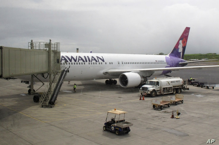 Hawaiian Airlines Flight 45 arrives from San Jose, Calif., in Kahului Airport in Kahului, Hawaii, on April 21, 2014.