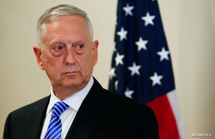 U.S. Defence Minister James N. Mattis is seen during a press conference before the commemoration of the 70th anniversary of the Marshall Plan at the George C. Marshall Center in Garmisch-Partenkirchen, Germany June 28, 2017. REUTERS/Michaela Rehle - ...