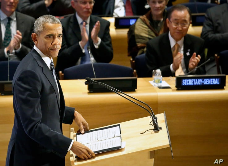 President Barack Obama address the Leaders Summit on Refugees during the meeting of the 71st session of the U.N. General Assembly at U.N. headquarters, Sept. 20, 2016.
