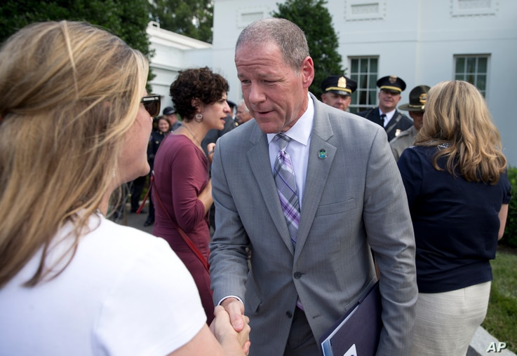 Knoxville, Tennessee., Police Chief David Rausch talks with media outside the White House, July 6, 2016, after after he and other members of law enforcement met with senior White House officials to discuss the prescription opioid and heroin epidemic....