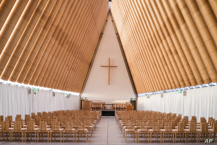 This undated image released by the Pritzker Prize shows a cardboard cathedral in New Zealand designed by Tokyo-born architect Shigeru Ban, 56, the recipient of the 2014 Pritzker Architecture Prize