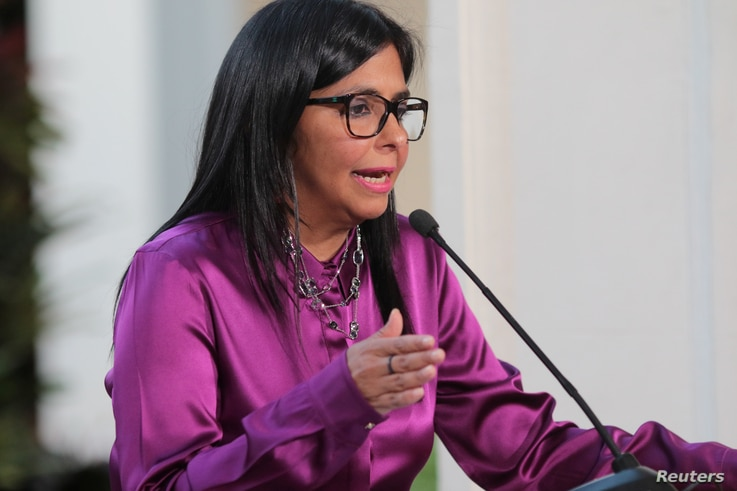 Venezuela's Foreign Minister Delcy Rodriguez speaks to the media at Miraflores Palace in Caracas, Venezuela April 26, 2017.