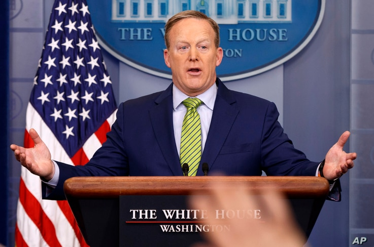 """White House press secretary Sean Spicer speaks during the daily press briefing at the White House in Washington, Feb. 2, 2017. Spicer said the type of change made Thursday regarding a change in sanctions on Russia was a """"fairly common practice."""""""