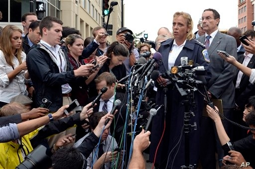 District of Columbia Police Chief Cathy Lanier briefs reporters on the shooting at the Washington Navy Yard, Sept. 16, 2013.