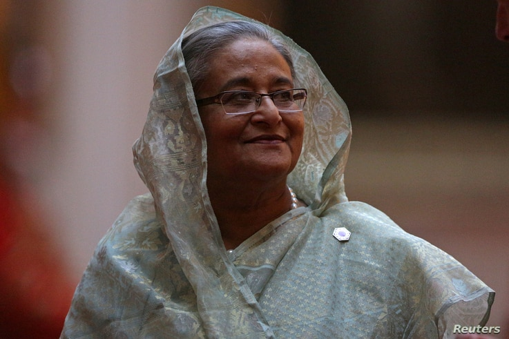 Prime Minister of Bangladesh Sheikh Hasina arrives to attend The Queen's Dinner during The Commonwealth Heads of Government Meeting, at Buckingham Palace in London, April 19, 2018.