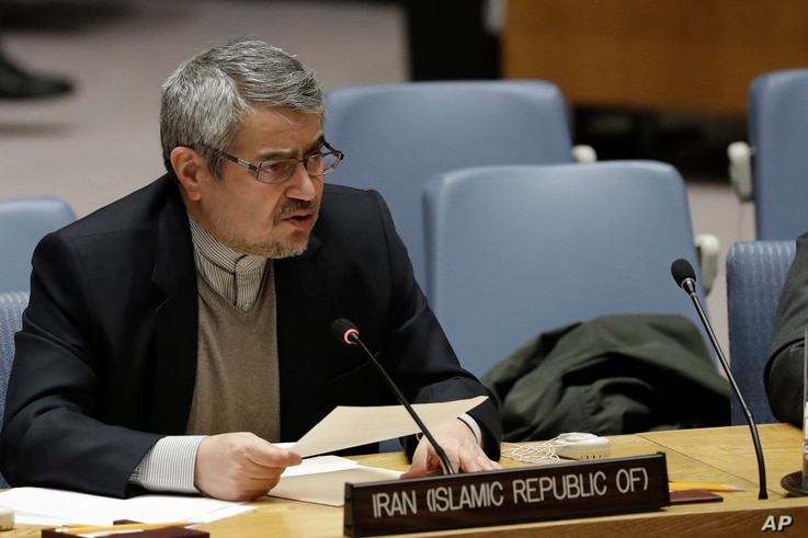 FILE - Gholamali Khoshroo, Iran's Ambassador to the United Nations, speaks at a U.N. Security Council meeting.