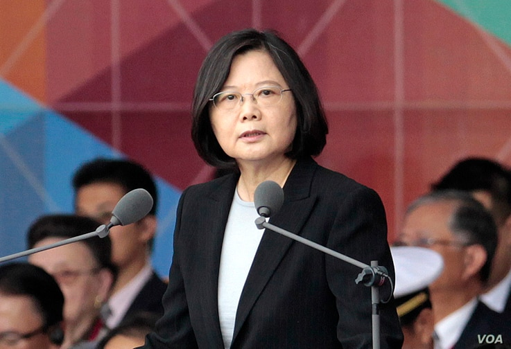 FILE - Taiwan's President Tsai Ing-wen delivers a speech during National Day celebrations in front of the Presidential Building in Taipei, Taiwan, Oct. 10, 2016.