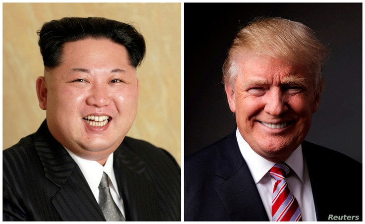 FILE - A combination photo shows a Korean Central News Agency (KCNA) handout of Kim Jong Un released on May 10, 2016, and Donald Trump posing for a photo in New York City, U.S., May 17, 2016.