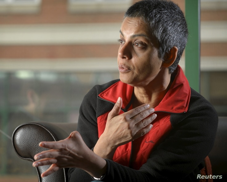 FILE - Rafida Ahmed, who suffered injuries, including the loss of a thumb, during a hacking attack, is interviewed near Washington, April 23, 2015. Ahmed's husband, blogger Avijit Roy, was killed in the February attack in Dhaka.