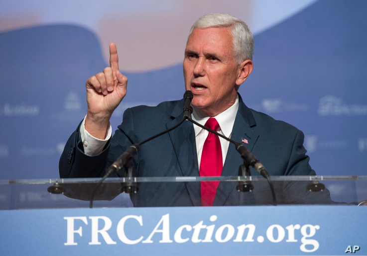 Republican vice presidential candidate Mike Pence speaks to the Values Voters Summit in Washington, Sept. 10, 2016.