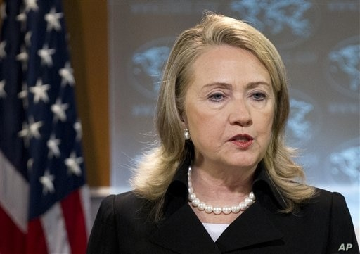 Secretary of State Hillary Rodham Clinton speaks during a news conference at the State Department in Washington, May 24, 2012.