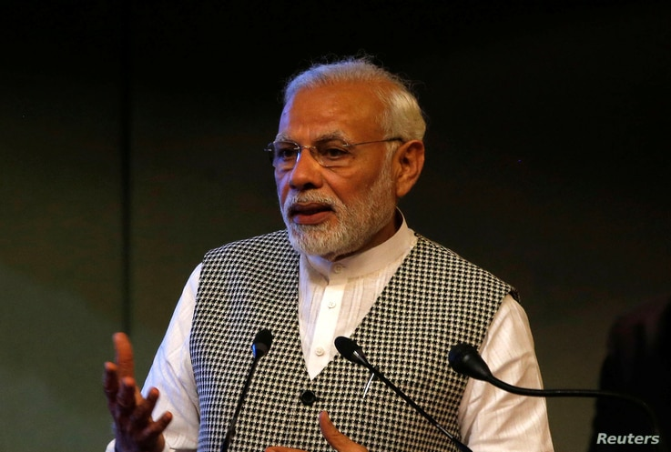 India's Prime Minister Narendra Modi speaks at the inauguration of a hydroelectric power plant in the state of Jammu and Kashmir, at Sher-i-Kashmir International Conference Centre in Srinagar, May 19, 2018. In 2014, Modi's campaign strategists succes