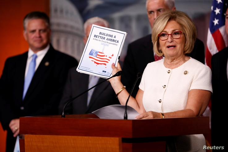 Rep. Diane Black (R-TN) announces the 2018 budget blueprint during a press conference on Capitol Hill in Washington, July 18, 2017.