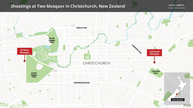 Map of New Zealand mosques targeted by shooters
