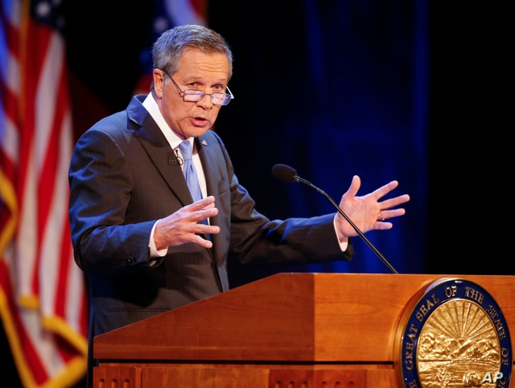 FILE - Ohio Gov. John Kasich delivers his State of the State address in Sandusky, Ohio, April 4, 2017. According to the Ohio Development Services Agency website, the state is spending $1 billion a year to attack the opioid problem.