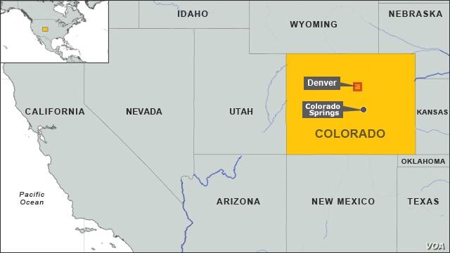 Map showing the location of Colorado Springs and Denver