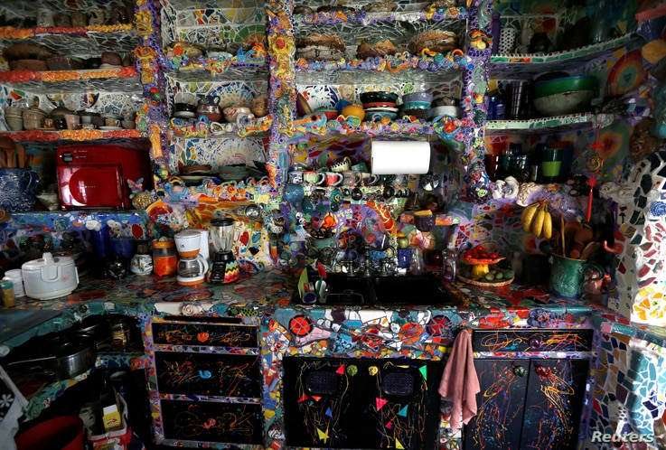 The kitchen of artists Gonzalo Duran and Cheri Pann's Mosaic Tile House in Venice, California, Aug. 26, 2016.