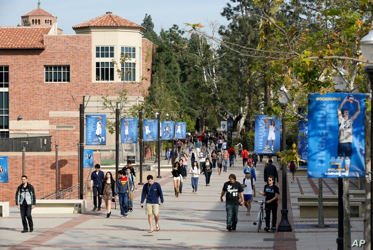 FILE - A campus scene at the University of California-Los Angeles.
