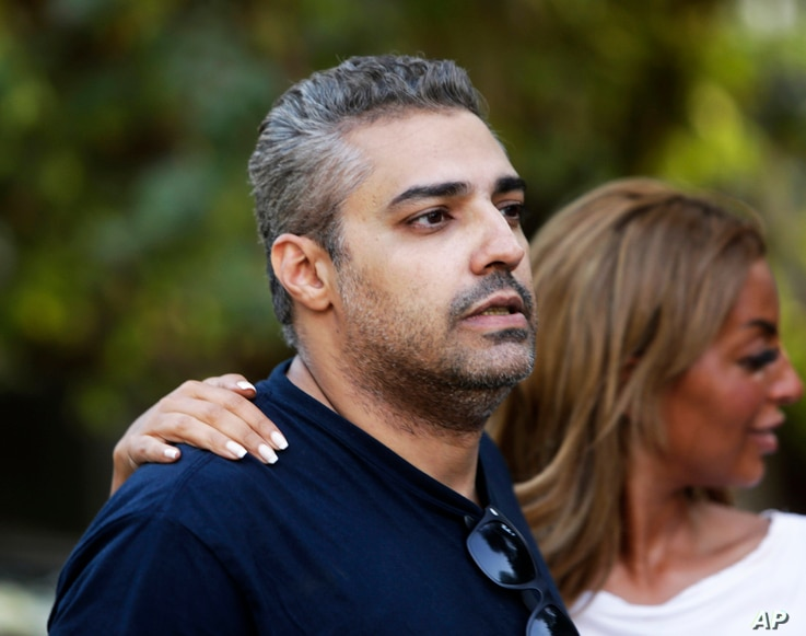 Canadian al-Jazeera English journalist Mohamed Fahmy after being released from Torah prison in Cairo, Sept. 23, 2015.